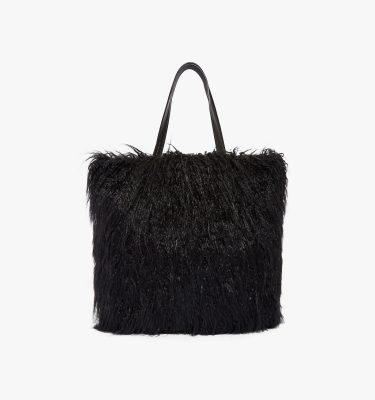 Borsa shopping eco pelliccia pelle a spalla