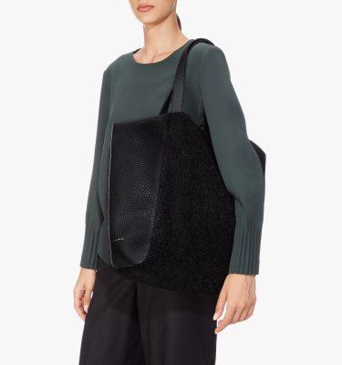 Borsa shopping eco pelliccia montone a spalla
