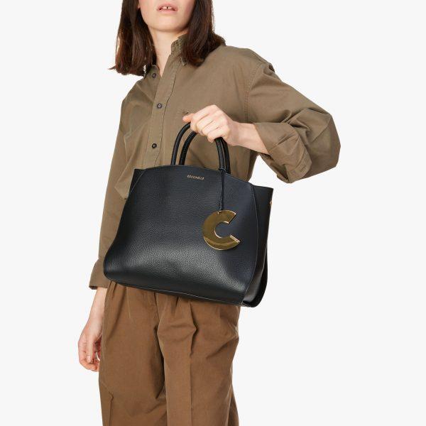 Borsa donna in pelle a mano, a spalla Concrete Medium Coccinelle Noir La Borsetta Como