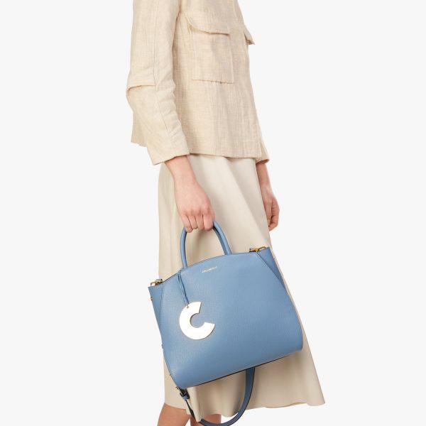 Borsa donna in pelle a mano, a spalla Concrete Medium Coccinelle Pacific Blue La Borsetta Como