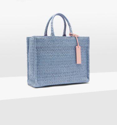 Borsa shopping in tessuto effetto paglia e pelle Coccinelle Neverwhithoutbag Pacific Blue La Borsetta Como