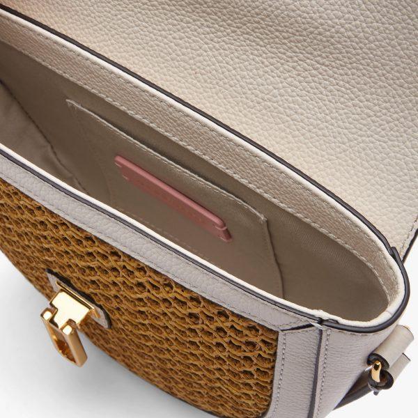 Borsa in paglia e pelle a tracolla Coccinelle Beat Saddle Mini Paglia Rete Lambskin White/Caramel La Borsetta Como